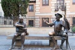 Trek Don Quichot en Sancho Panza aan Royalty-vrije Stock Afbeeldingen