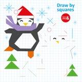 Trek door Vierkantenpinguïn in de Winter Art Kid Game stock illustratie