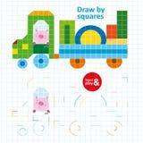 Trek door Vierkantenvarken in Kleurenauto Art Kid Game stock illustratie