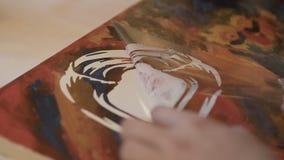 Trek een beeld op canvas stock footage