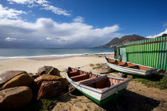Trek Fishing boats Simon's Town green shed Royalty Free Stock Images
