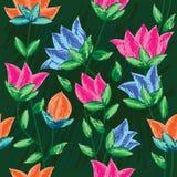 Trek het Schilderen Bloemen Naadloze Pattern_eps Royalty-vrije Stock Fotografie
