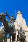 Trek het standbeeld van Don Quichot en van Sancho aan Panza - Madrid Spanje Stock Afbeelding