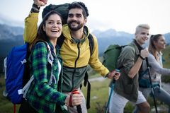 Trek Hiking Destination Experience Adventure Happy Lifestyle Concept royalty free stock photography