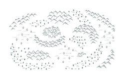 Trek kaart met bergen, bos en kleine stad stock illustratie
