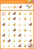 Trek lijn en volg de cyclus van het kippenleven stock illustratie