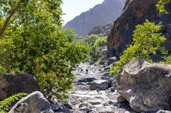Trek in Nakhr Wadi - Oman royalty free stock image