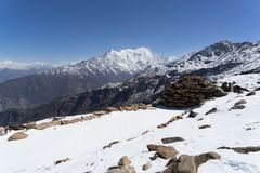 Snow mountains peak in Nepal Himalaya. Trek in Nepal Gosaikunda and Nepal valley tourism Stock Images