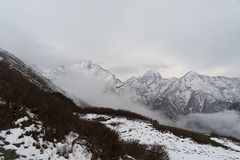 Snow mountains peak in Nepal Himalaya. Trek in Nepal Gosaikunda and Nepal valley tourism Stock Image
