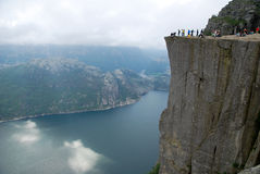 A trek for the Preikestolen Stock Photo