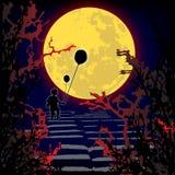 Trek ` t gaan aan lopend in het hout - verschrikking - Halloween royalty-vrije illustratie