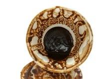 Trek ` t zorgen aan voor de koffiekop na het drinken van Turkse koffie royalty-vrije stock fotografie