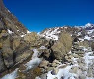 Trek to mountain Sagarmatha. National Park in Himalaya. Royalty Free Stock Photography