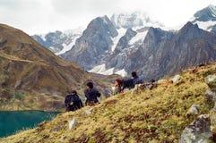 Trek van Huayhuash, Peru Stock Foto's