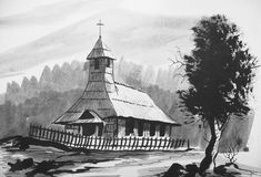Trek van oude kerk Royalty-vrije Stock Foto's