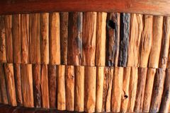 Trek wooden wall. Closeup Nice vintage brown trek and mix wooden wall material Stock Photos