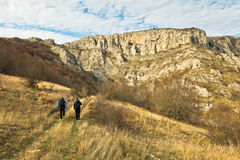 Treking through autumn landscape of Nisevacka gorge Stock Photo