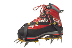 Treking boot with crampon Royalty Free Stock Photos
