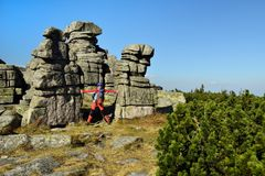 Treking in the Karkonosze Mountain national park with the backpack in Poland. Hikings along tourist trails in the Karkonosze Mountain national park in Poland Stock Image
