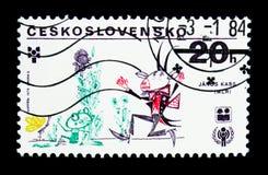 Trekkend door Janos Kass, Hongarije, SLAB serie, circa 1979 stock illustratie
