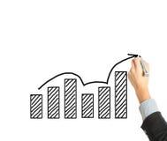 Trekkend een grafische verhoging op witte raad Stock Foto