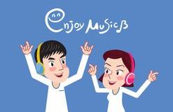 Trekkend het vlakke Paar van het karakterontwerp geniet van het muziekconcept, illustratie Stock Foto's