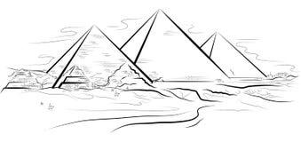 Trekkend piramids en woestijn in Giza, Egypte Stock Fotografie