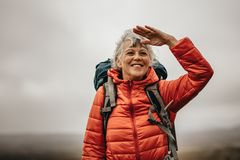 Trekker женщины наслаждаясь красотой природы стоковые изображения rf