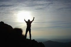 Trekker. Silhouette, west alps, Italy Royalty Free Stock Image