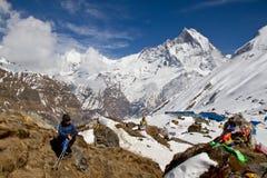 Trekker above Annapurna Basecamp Royalty Free Stock Image