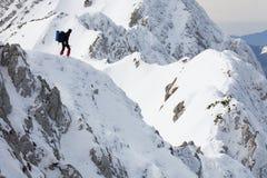 Trekker alpestre Photographie stock