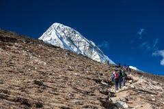 Trekker approaching PumoRi mountain in Khumbu valley on a way to. Everest Base camp Stock Image