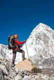 Trekker approaching PumoRi mountain in Khumbu valley on a way to Royalty Free Stock Photography