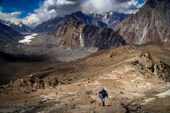 Trekker and Batura Glacier Stock Image