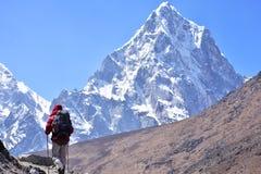 Trekker bij de hoge berg van Himalayagebergte Royalty-vrije Stock Afbeeldingen