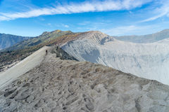Trekker at Bromo crater Royalty Free Stock Images