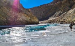 Trekker on chadar royalty free stock photos