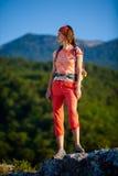 Trekker in Crimea mountains Royalty Free Stock Images