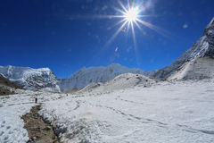 Trekker  beside of everest basecamp from everest trek nepal Royalty Free Stock Image