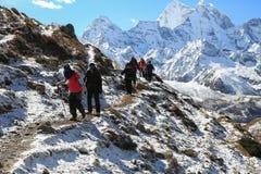 Trekker from everest trek route Stock Photo
