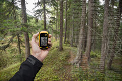 A trekker is finding the right position in the forest via gps in a cloudy autumnal day Royalty Free Stock Photos