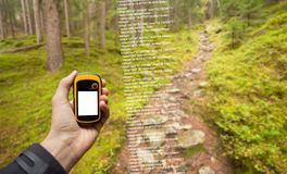 A trekker is finding the right position in the forest via gps in a cloudy autumnal day Stock Images