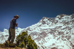 Trekker In front of Nanga Parbat Stock Photos
