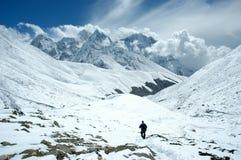 Trekker in het Himalayagebergte Royalty-vrije Stock Foto's