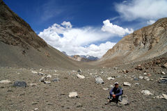 Trekker in Karakorum Stock Image