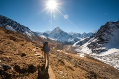 Trekker in Khumbu valley in front of Abadablan mount on a way to. Everest Base camp Stock Photos