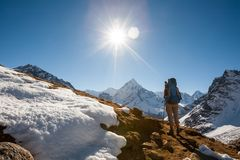 Trekker in Khumbu valley in front of Abadablan mount on a way to. Everest Base camp Royalty Free Stock Photography