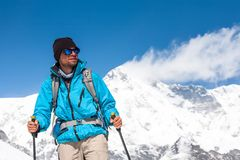 Trekker in Khumbu valley on a way to Everest Base camp Stock Images