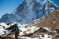 Trekker in Khumbu valley on a way to Everest Base camp Stock Photography