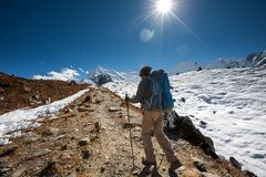 Trekker in Khumbu valley on a way to Everest Base camp Royalty Free Stock Images